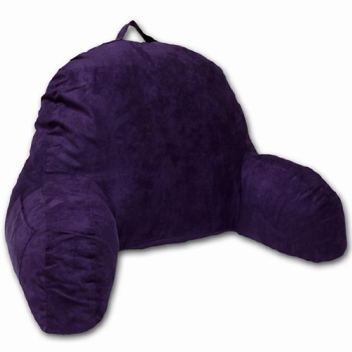 Deluxe Comfort Microsuede Bedrest – Reading and Bed Rest Lounger – Sitting Support Pillow – Soft But Firmly Stuffed Fiberfill – Backrest Pillow With Arms, Purple