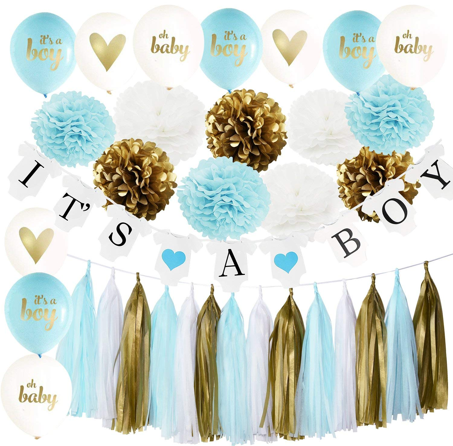 40ps Baby Shower Decorations for Boy White Blue Gold It's a Boy Bunting Banner,Oh Baby Ballons,It's A Boy Ballons with Tissue Paper Pom Poms Tassel Garland for Boy Baby Shower Decorations