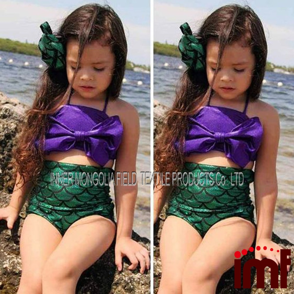 14e6e84b45 Little Mermaid Stocking Children Kids Girls Bikini Bathing Swimsuit Beach  Swim Wear