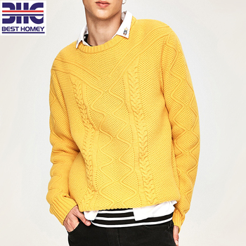 a574c743489 Mens Piquet + Cable Knitted Merino Wool Cashmere Crew Neck Sweater Pullover  - Buy Crew Neck Yellow Pullover Sweater,Cable Knit Pullover Pattern ...