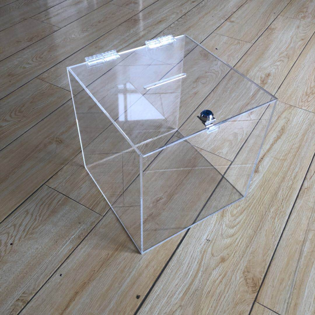 clear acrylic donation box with lock