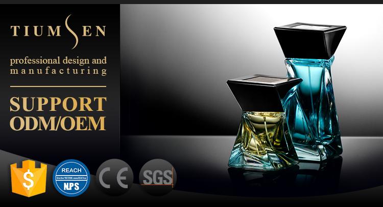 100ml rectangular black glass perfume spray bottles with black cap for men
