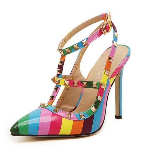 Plus size Women Shoes 2015 Fashion Pointed Toe High Heels Shoes Women Pumps  Rainbow Rivets Sandals fd2563fc3