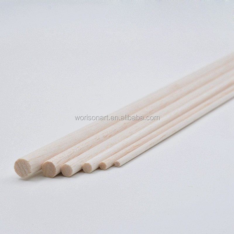 1000mm long diameter of D4/D5/D6/D8/D10/D12/D15mm Balsa Wood Round Dowels Sticks for airplane/boat model DIY
