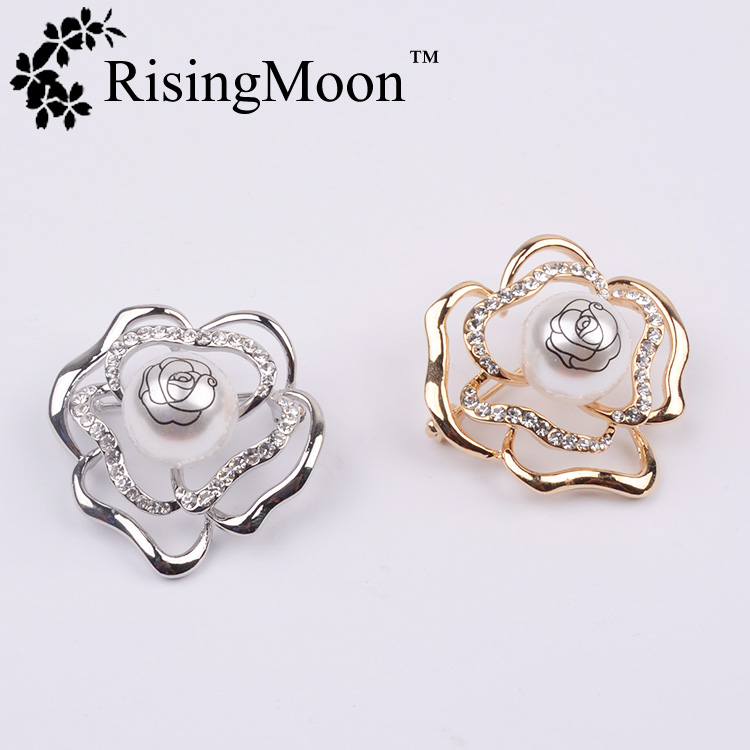 Europen Fashion Zircon Inlay Charm Rose Alloy Brooches OEM/ODM Welcomed
