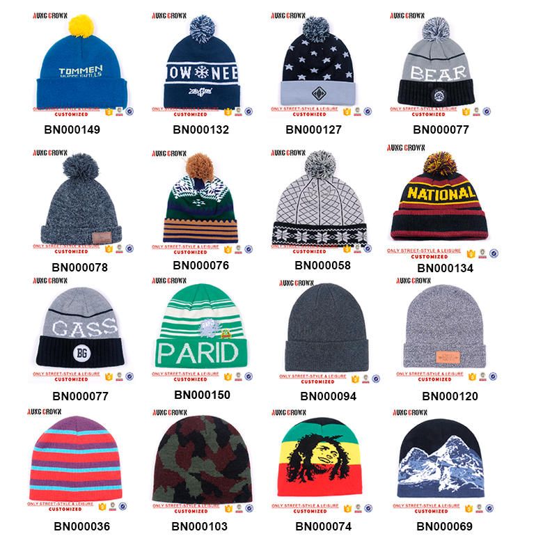 Online design Custom winter beanies cap knit cap fisherman beanie custom logo