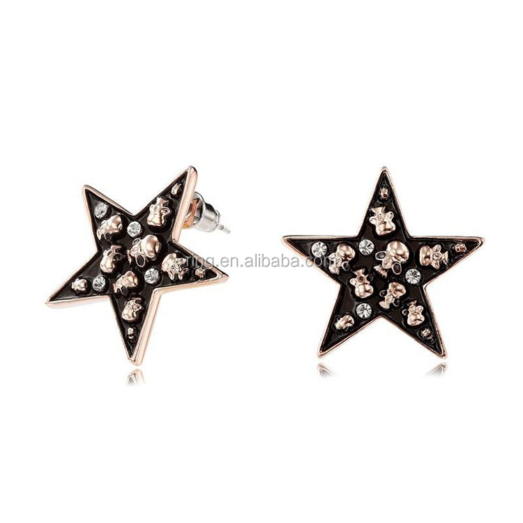 Skull Rhinestone Star Earrings Stud Rose Gold Enamel Star Ladies Stud Earrings DSE-0038