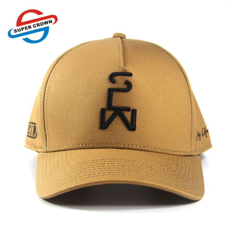 Wholesale custom mens black Brown Color Curved brim with embroidery logo 100% Cotton 5 Panel sports Hats Baseball Cap for unisex