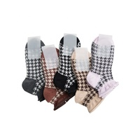 2019 spring summer jacquard plaid lady sock private label socks women ankle cotton socks girl lace