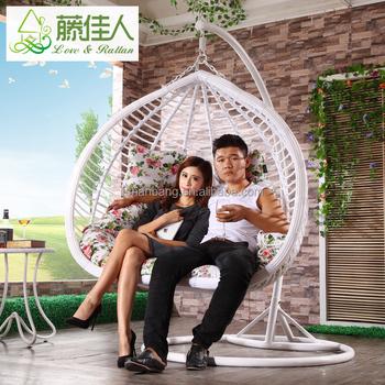 Outdoor Indoor Bedroom 2 Person Egg Shape Wicker Rattan Swing Chair Hanging  Hammock