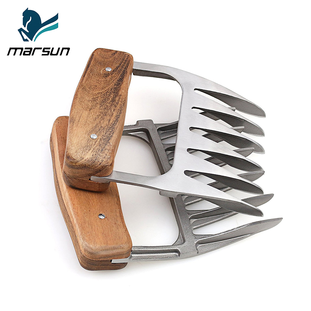 Best amazon supplier home kitchen tools 18/8 stainless steel Pulled Pork shredder claws strongest bbq metal meat claws