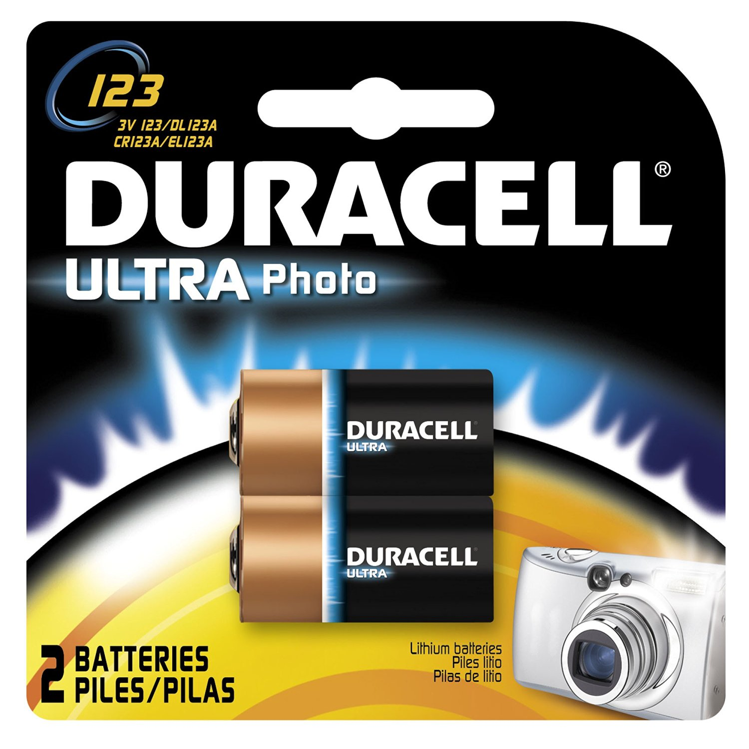 Duracell Ultra 123 3-Volt Camera Batteries, 2-Count Packages (Pack of 2)