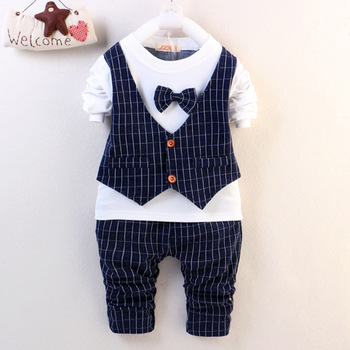 DDE11 B 2016 New Spring Baby Boys Clothes Gentleman Suit Toddler Clothing Set