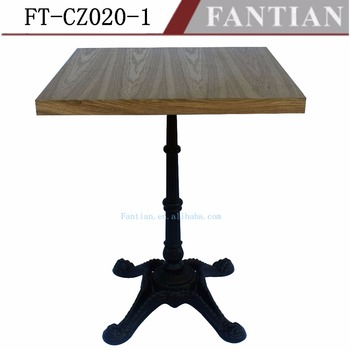 Wood Table Top With Cast Iron Base Coffee