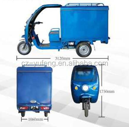 open cabin express vehicle/electric courier tricycle with wagon