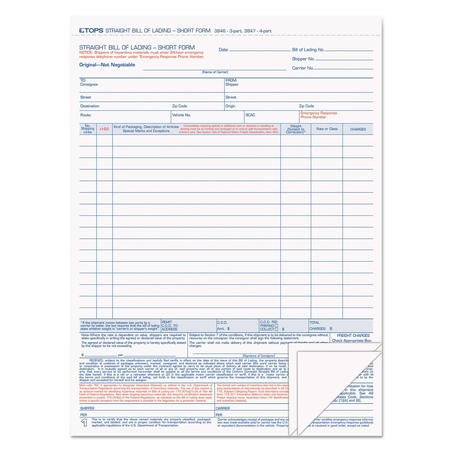 Tops 3846 Bill of Lading,16-Line, 8-1/2 x 11, Three-Part Carbonless, 50 Forms