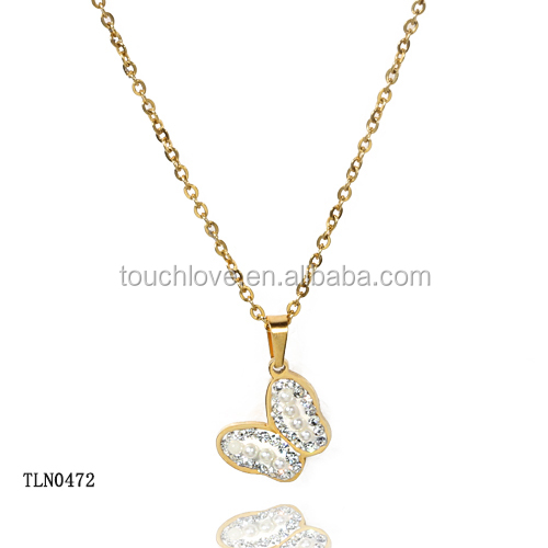 Women Accessories China Unique design hot sale charm 18k gold butterfly necklace with pearl