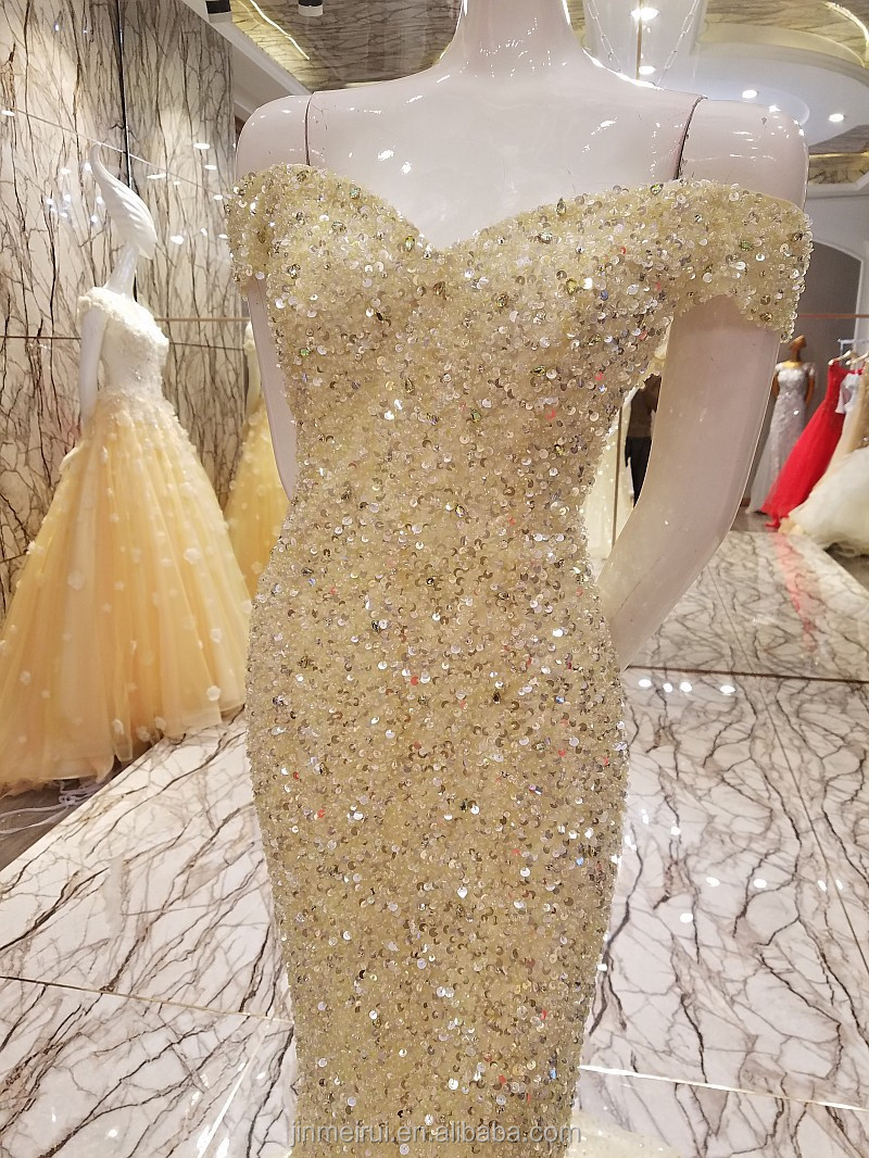 Luxury Dubai Evening Dresses Heavy Beaded with Crystals Cap Sleeves Sweetheart Long Mermaid Champagne Prom Dress Evening Gown