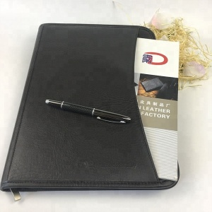 Hotsale fashion business pu leather portfolio PU leather A4 portfolio folder