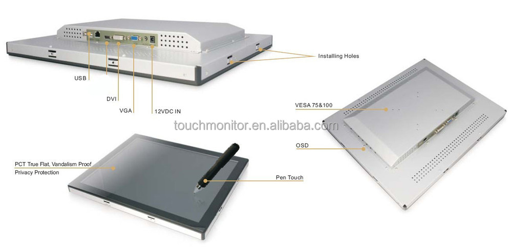Capacitive Touch Screen Lcd Panel Monitor 12.1
