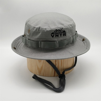 Custom Polyester Embroidery Fishing Hunting  Cap Wide Brim Bucket Hat With String