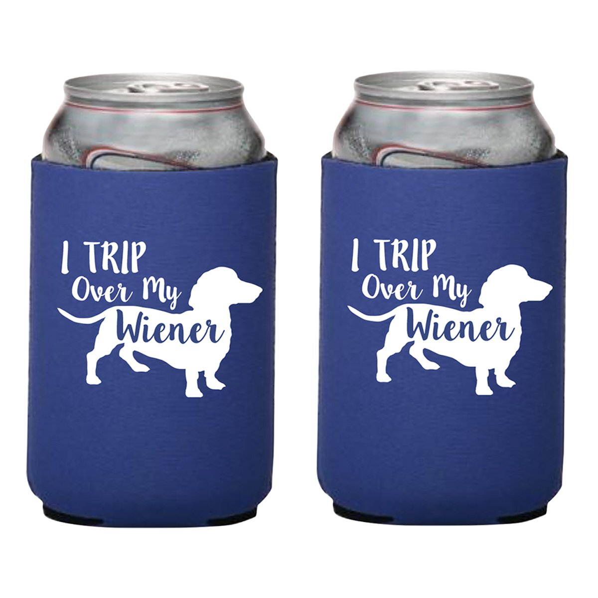 I Trip Over My Wiener Dachshund Wiener Dog Koozie Collapsible Can Cooler (Black)