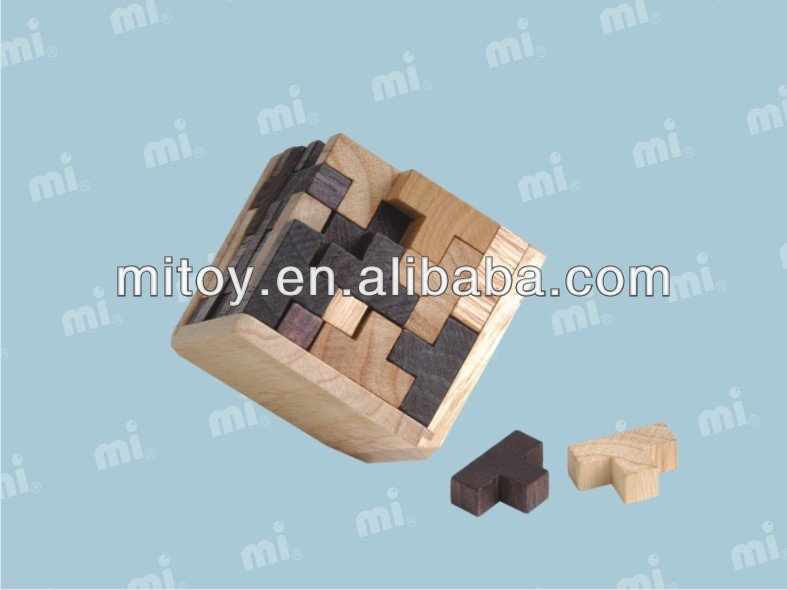 lishui China factory toys 3d wooden puzzle magic cubes toys fancy T cube wooden puzzle 3d wood brain teaser cube puzzle