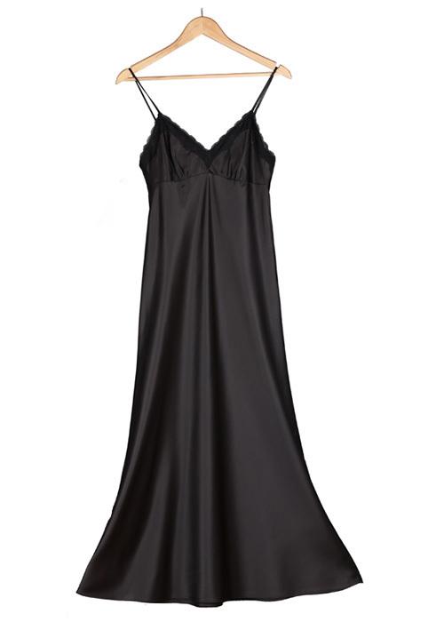 Get Quotations · Women Black Sexy Lingerie  Plus Size Night Dress Sleepwear   Silk Satin Long Nightgown  854a6b3b9