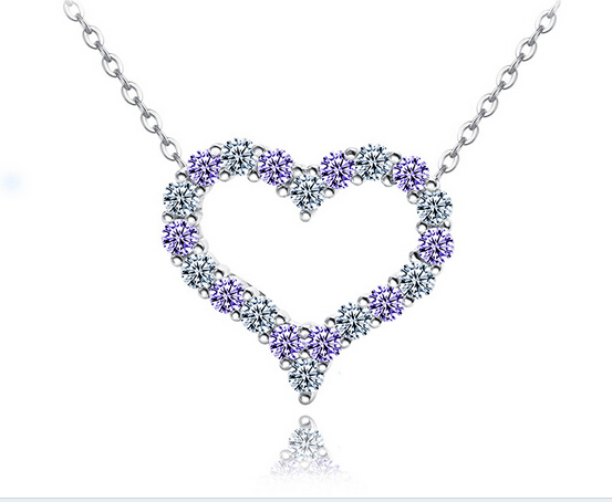 Girls White Purple Zircon Stone 925 Sterling Silver Pendant Necklace, Heart Pendant Necklace