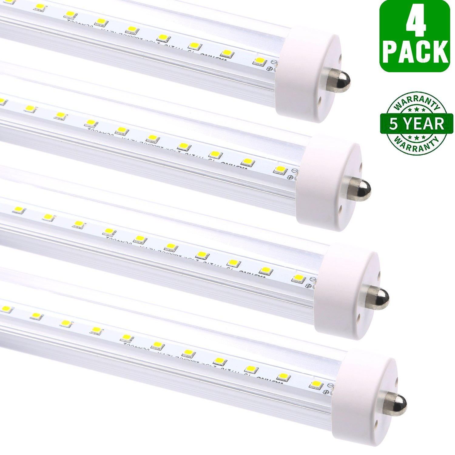 Hykolity 8FT T8 LED Tube Light 36W (80W Equivalent) Shop Lights, 4000LM, Works WITH or without a Ballast, 5000K Daylight White, Single Pin, Fluorescent Tubes Replacement Lighting Fixtures, 4 Pack