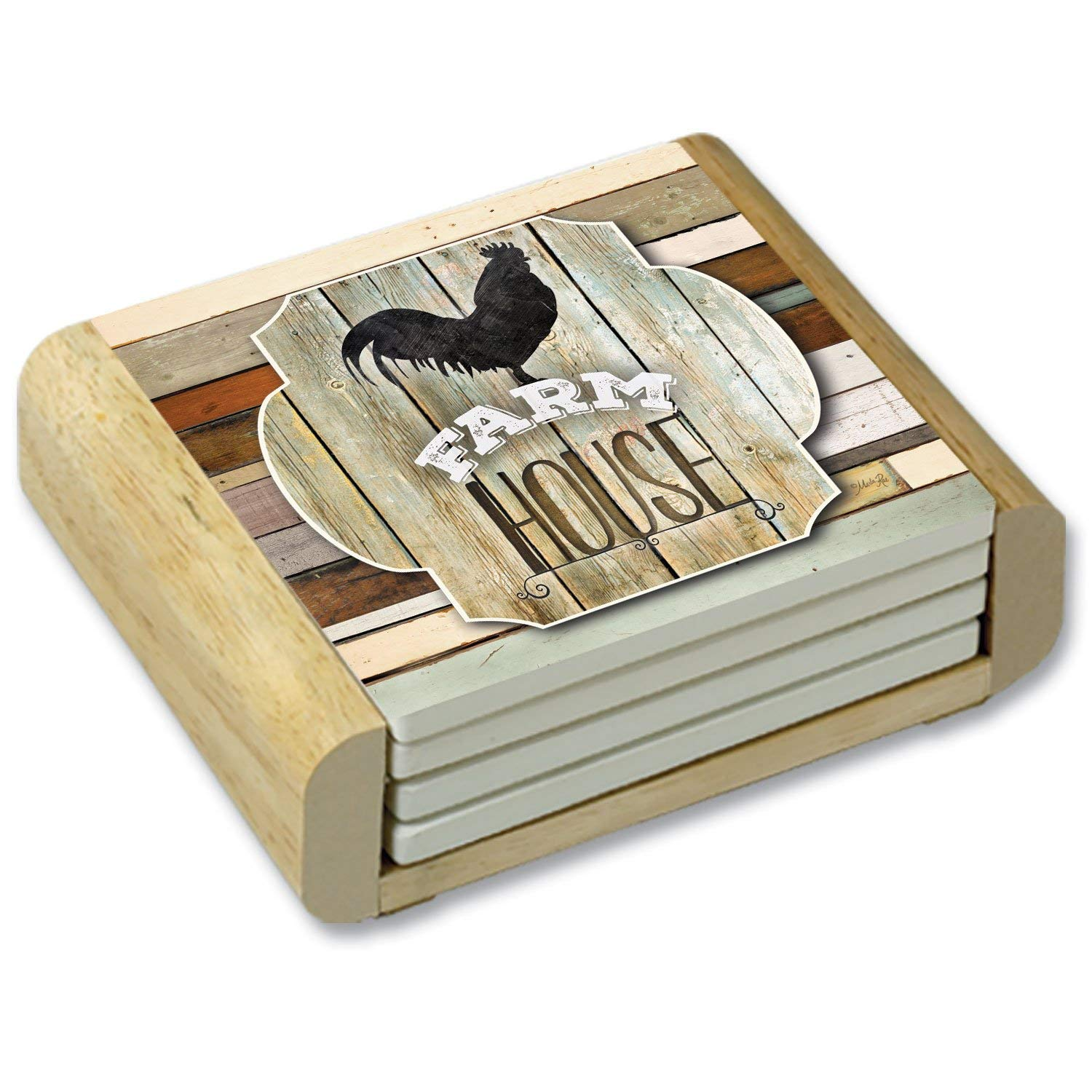 CounterArt Farmhouse Rooster Absorbent Coasters in Wooden Holder, Set of 4