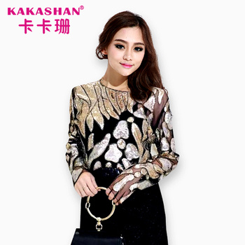 Sexy Women Mesh Sequin Tops Long Sleeve See Through Blouse - Buy ... c50652a5d4