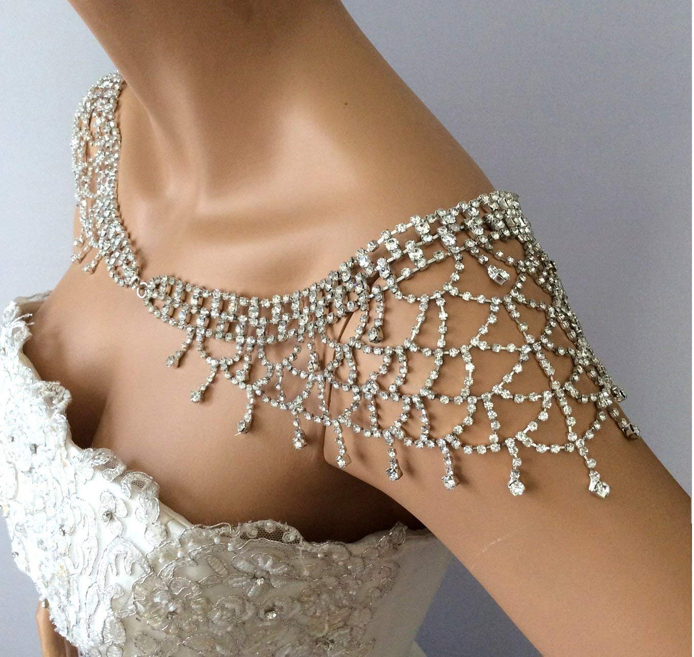 Wedding Dress Shoulder Jewelry Bridal Shoulder Necklace Rhinestone Wedding Shoulder Necklace Wedding Dress Accessories Bridal Jewelry