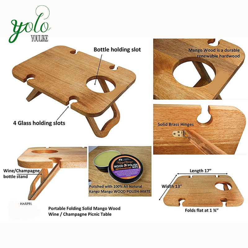 Modern Outdoor Food Serving Tray,Removeable Wine And Snack Holder,Portable Wooden Picnic Table Folding With Legs