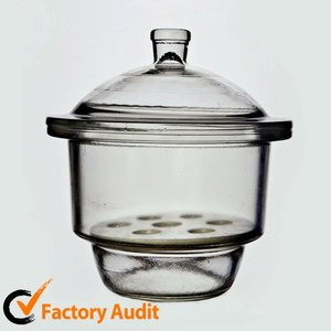 Lab supplies glass vacuum desiccator, clear and brown color