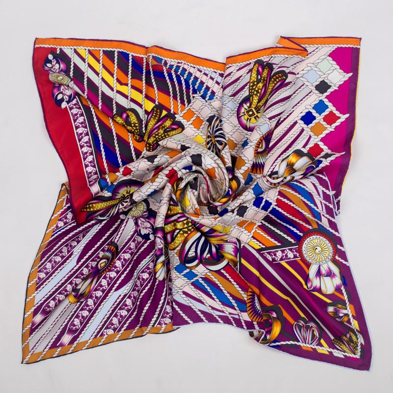 90 × 90平方大型ショール女性ナチュラルツイルスカーフシルクファッションスカーフ