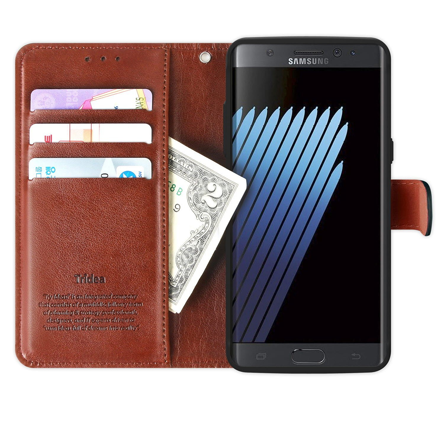 Galaxy Note 7 Case Wallet, Tridea [Card Pockets][Flip][Magnetic Closure][Slim Fit] Premium Synthetic Leather Case for Galaxy Note7 (2016) [Brown]