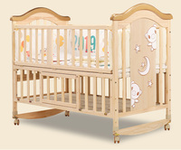 Convenient wood kids bed attachable parent bed/bedside baby crib