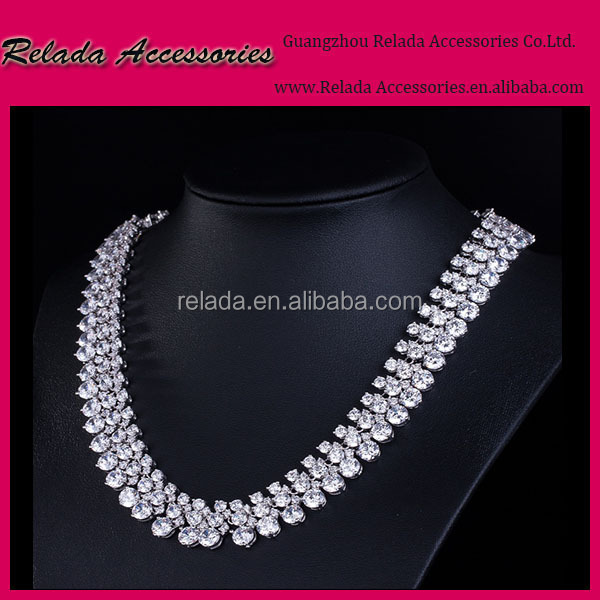 Factory Wholesale Supper Shiny Perfect ladies necklace Top Quality AAA Zircon Wedding Necklace