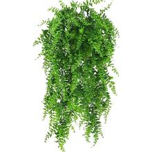2 pcs Felce di Boston Bush Faux Artificiale Piante di Vite Decor Plastica Verde Piante Artificiali Vines Appeso Pianta