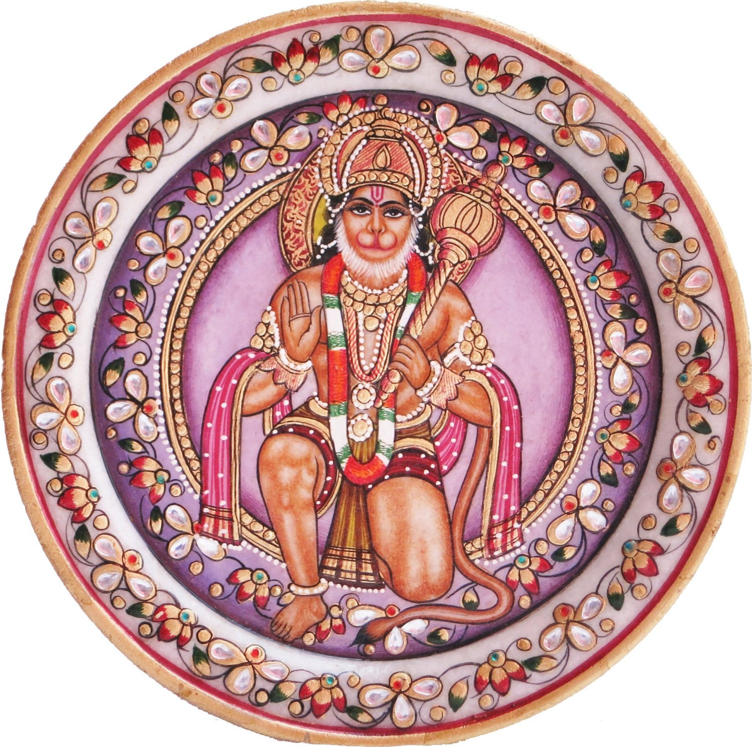 Lord Hanuman with his weapon Gadha and giving Blessings, A Hand Made miniature Painting on Round Marble Plate, Must for Worship, Gift and Religious purpose