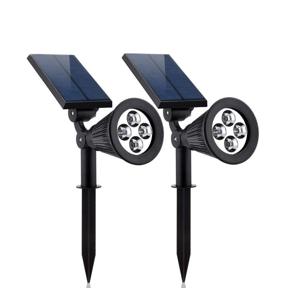 WYBAN 2-in-1 Solar Lights 4-LEDs Solar Spotlight IP65 Waterproof Auto On/Off Outdoor 180 °Adjustable Landscape Security Wall Light for Garden,Backyard,Pool Lighting (2 Pack) (Warm white)
