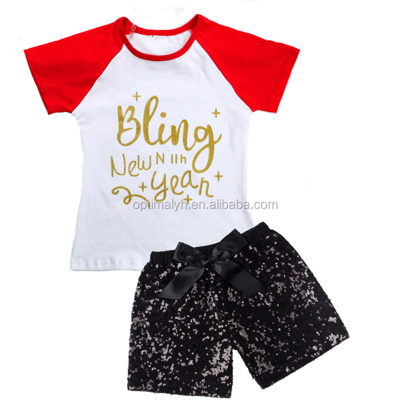 Children's Clothing girls icing short top with sequin pant set fancy kids outfit