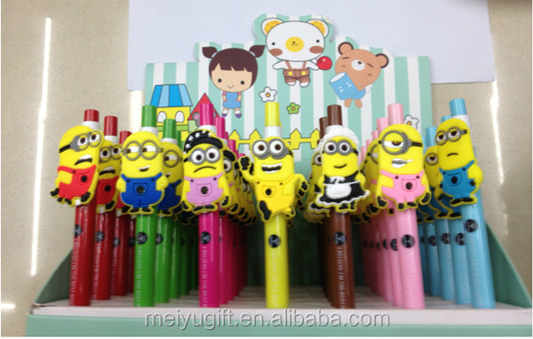 2015 fashion custom 3D Despicable Me minions cartoon character plastic ball pen