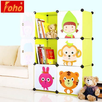 FH-AL0023-6 YIWU plastic clothes cabinet assembled by panels