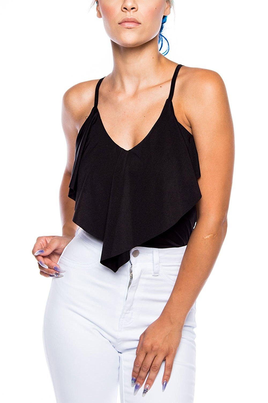 Womens Silky Strap Chest Ruffle V-Neck Sleeveless Solid Bodysuit T9179