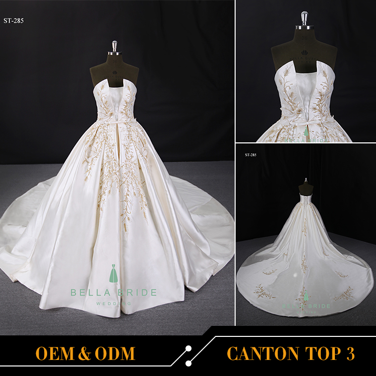China guangzhou factory sleeveless satin balll gown wedding dress with chapel train