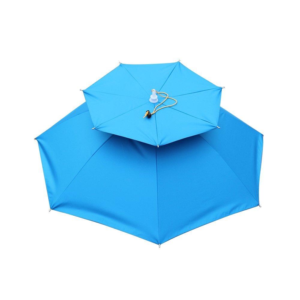 47e8094460065 Get Quotations · Rimis Outdoor Umbrella Hat Double Layers Cycling Fishing Parasol  Rain Umbrella Hiking Beach Sunshade Anti-