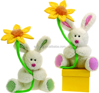 Easter Plush Bunny with Flower