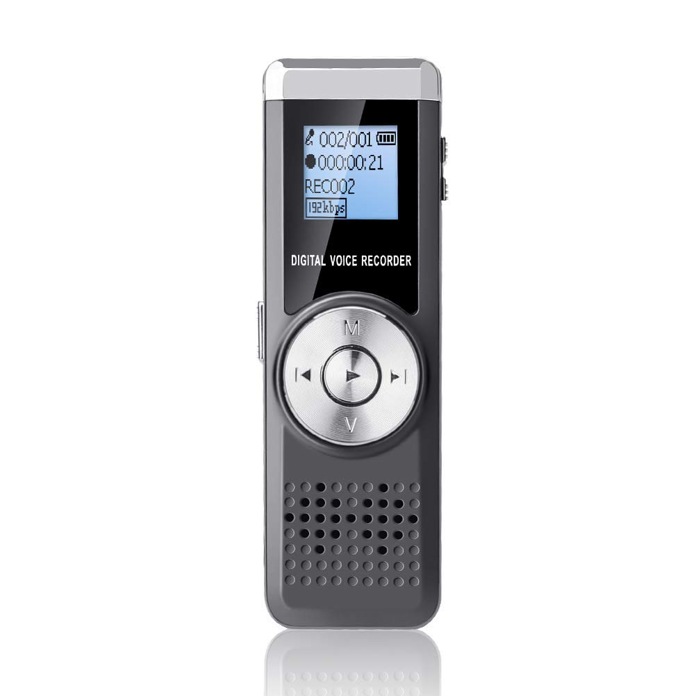 Voice Recorder 16GB, Jamal Portable Digital Audio Recorder Rechargeable Dictaphone Sound Recorder Voice Activated Player for Class/Lecture/Meeting/Interview with Mp3 Player